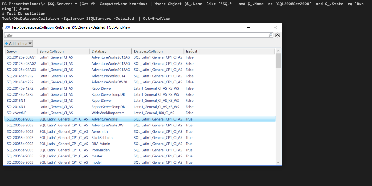 Test the SQL Server database collation with PowerShell and
